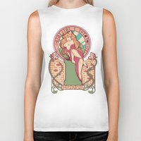 nouveau Biker Tanks featuring Peach Nouveau by Megan Lara
