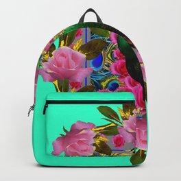 GREEN PEACOCK &  PINK ROSE GARDEN TURQUOISE ART Backpack