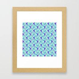 Pretty beautiful cute purple blue hummingbirds, delicate twigs, leaves pastel green lovely pattern Framed Art Print