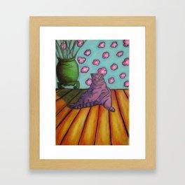 Purple Cat on Floor Framed Art Print