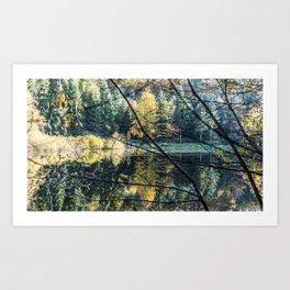 French lake in autumn Art Print