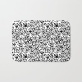 Lexi - squiggle modern black and white hand drawn pattern design pinwheels natural organic form abst Bath Mat
