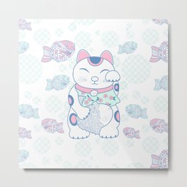 Manekinako and Tayaki Pattern / Estampado de Manekineko y Tayaki Metal Print
