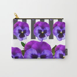 WHITE LILAC & PURPLE PANSY FLOWERS ART Carry-All Pouch