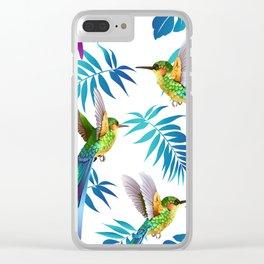 Cute Hummingbird & Tropical Leaves Clear iPhone Case