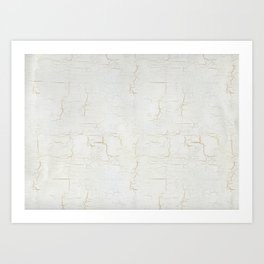 White Crackle Paint on Gold Pattern Art Print