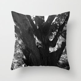 Black and white big old tree Throw Pillow