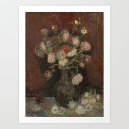 Vase with Chinese Asters and Gladioli Art Print
