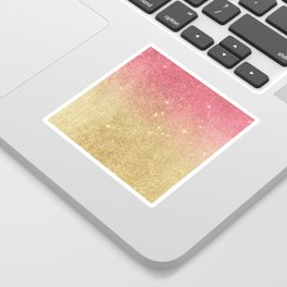 Pink abstract gold ombre glitter Sticker