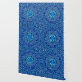 Blue Spiritual Flower Garden Mandala Wallpaper