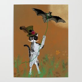 Cat Walking His Bat Poster