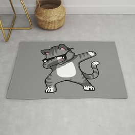 Dabbing Cat Grey Rug