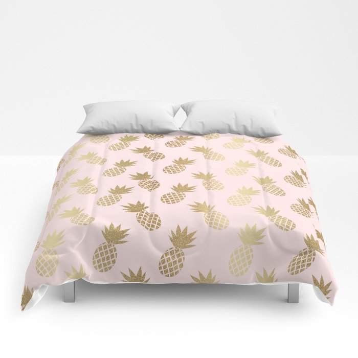 Pink & Gold Pineapples Comforters