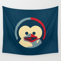 obama Wall Tapestries featuring Linux tux penguin obama poster baby  by Sofia Youshi