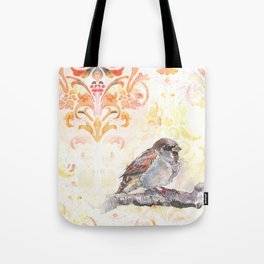 Sparrow in a Damask Autumn Tote Bag