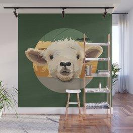 Sweet Lamb in the Barnyard Wall Mural