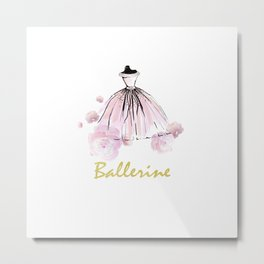 Ballerina And Flowers Metal Print