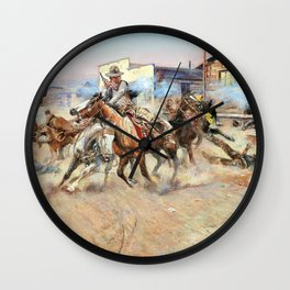 Smoke of a .45 - Charles Marion Russell Wall Clock