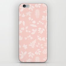 Pink Coral Floral Leaves iPhone Skin