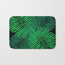 Modern Tropical Palm Leaves Painting black background Bath Mat