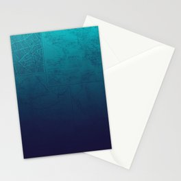 Blue Ombre Map Stationery Cards