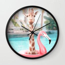 Giraffe in a swimming pool Wall Clock