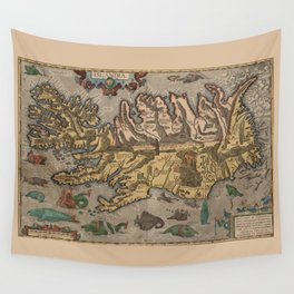 Antique Map Of Iceland 1603 Wall Tapestry