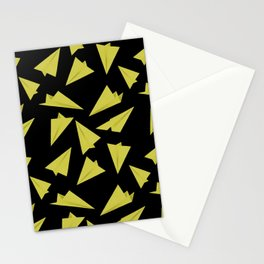 Paper Planes Pattern | Yellow Black Stationery Cards