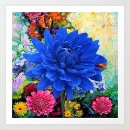 CONTEMPORARY BLUE DAHLIA GARDEN ART Art Print