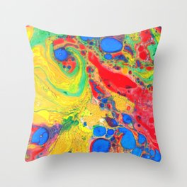 Marbling, Tie Dye Effect Abstract Pattern Throw Pillow