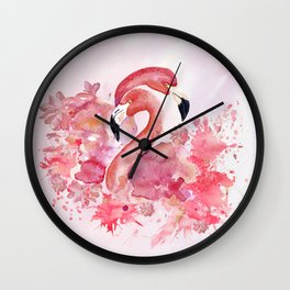 Tropical Birds- Flamingo In LOVE with exotic flowers Wall Clock