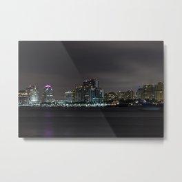 West Palm Beach Skyline at Night from Palm Beach Metal Print