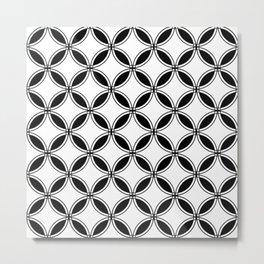 Large White Geometric Circles Interlocking on Black Background Metal Print