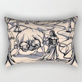 Hades and Cerberus in the Wisdom Garden Rectangular Pillow