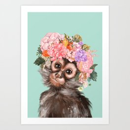Baby Monkey with Flower Crown Art Print