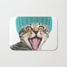 Cat with hat illustration Bath Mat