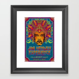 1968 Jimi Hendrix Experience Fillmore East San Francisco Concert Poster Framed Art Print