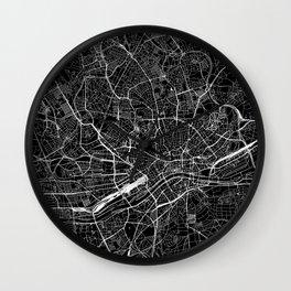 Frankfurt Black Map Wall Clock