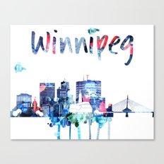 Colorful watercolor Winnipeg skyline Canvas Print