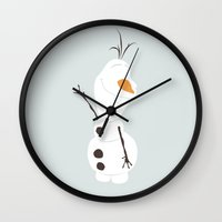 olaf Wall Clocks featuring Olaf, Frozen by carolam