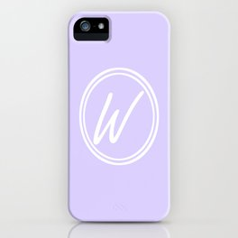 Monogram - Letter W on Pale Violet Background iPhone Case