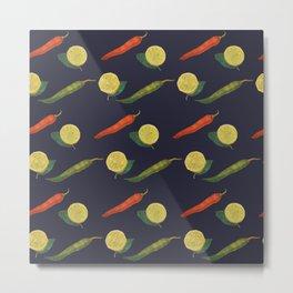chilli and lemon blue background Metal Print