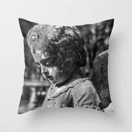 Angel Child Statue Throw Pillow