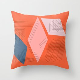 Mid Century Mod in Orange Throw Pillow