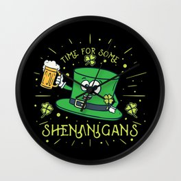 St. Patricks Day Shirt: Time For Some Shenanigans I Folklore Wall Clock