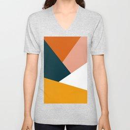 Colorful geometric design in orange & yellow Unisex V-Neck