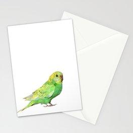 Geometric green parakeet Stationery Cards