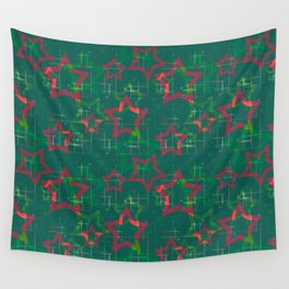 Stars on green background Wall Tapestry