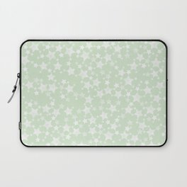 Magical Mint Green and White Stars Pattern Laptop Sleeve