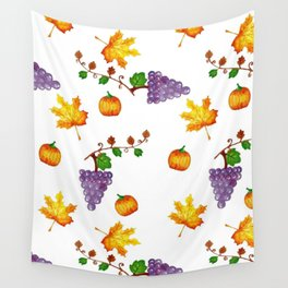 Fall pumpkin leaves and grapes design, autumn fruit and vegetables, white  seamless pattern Wall Tapestry